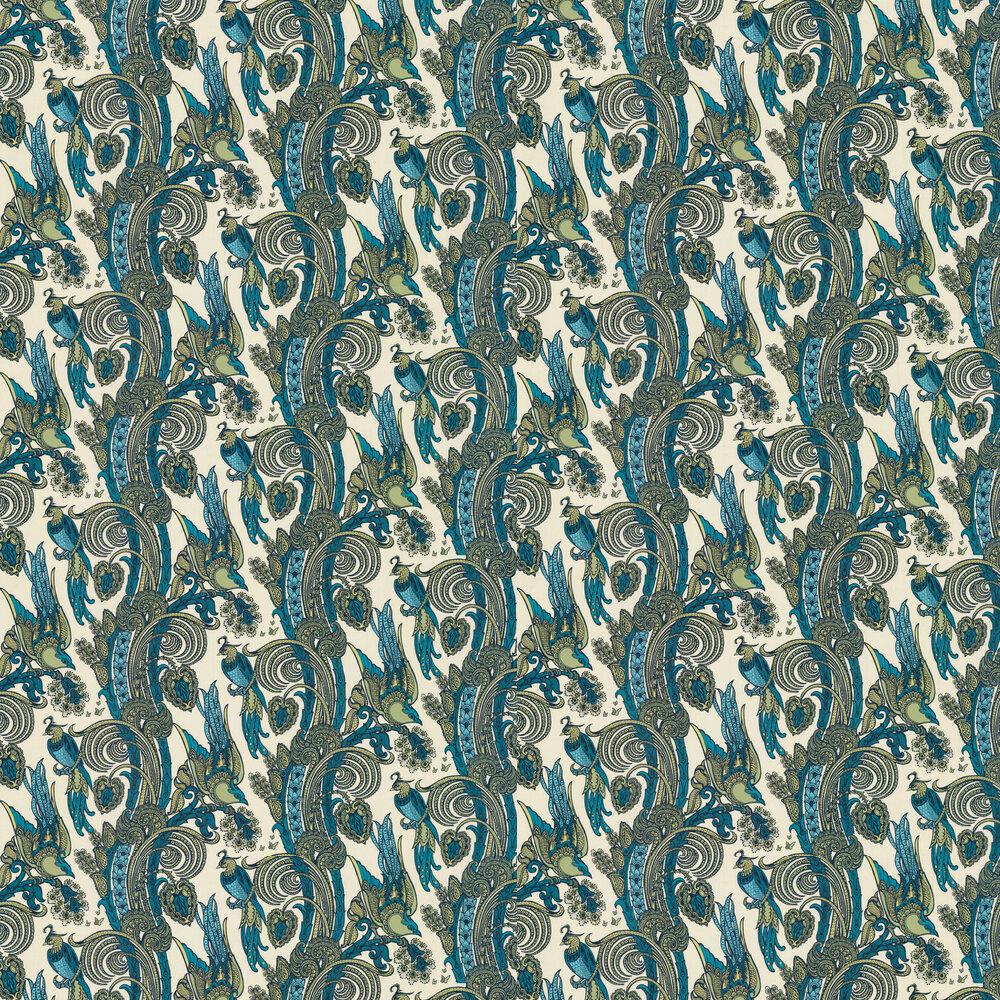Fantoosh Wallpaper - Green / Blue - by Laurence Llewelyn-Bowen