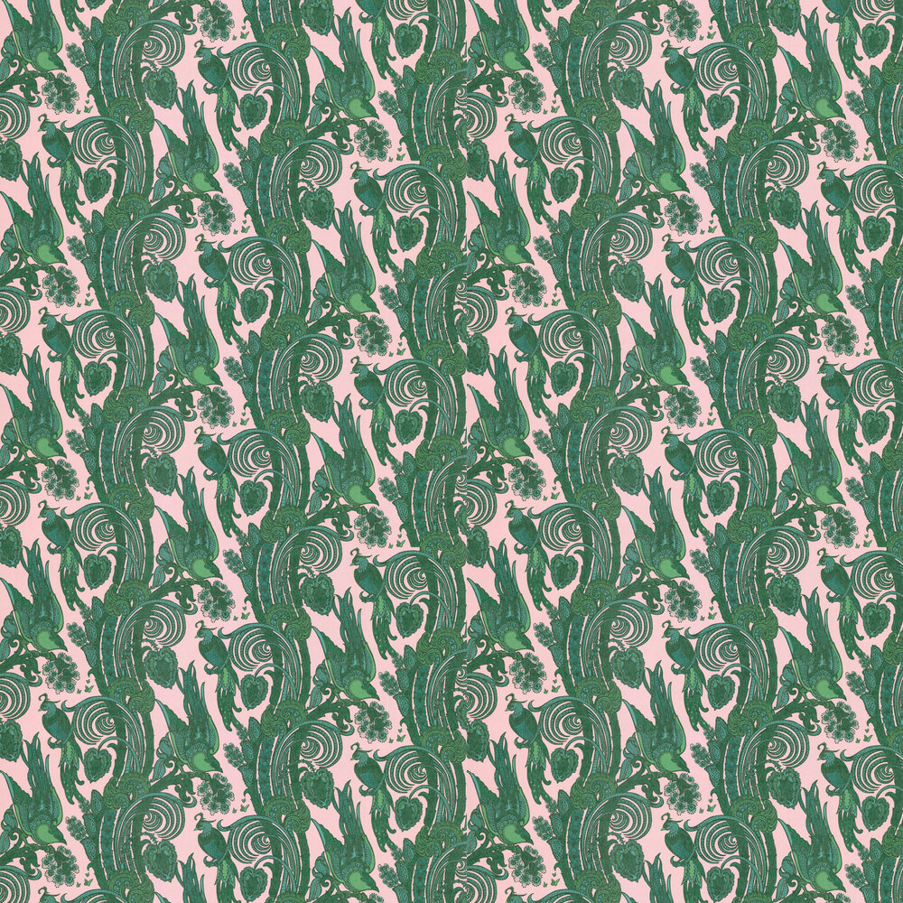 Fantoosh Wallpaper - Green / Pink - by Laurence Llewelyn-Bowen