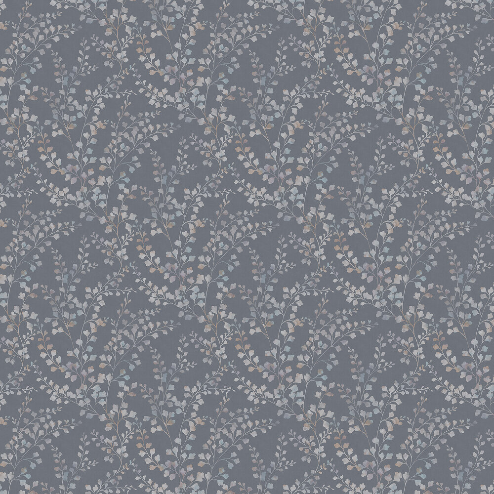 Boråstapeter Leaf Silhouette Steel Blue Wallpaper - Product code: 7287