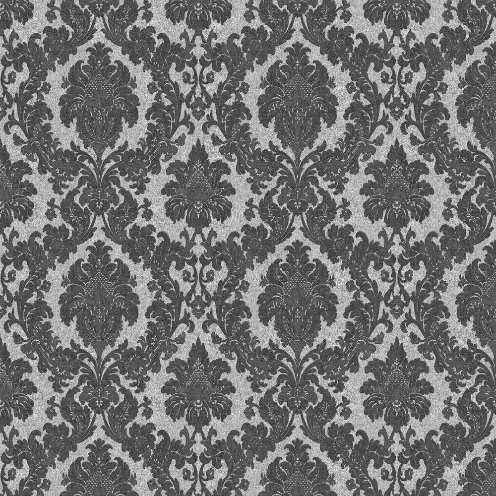 San Remo Damask Wallpaper - Charcoal - by Albany