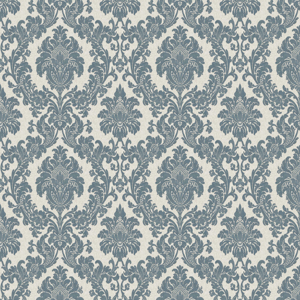 San Remo Damask Wallpaper - Navy - by Albany