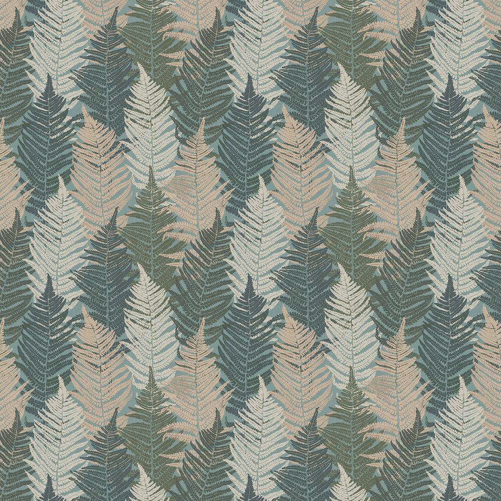 Boråstapeter Fern Forest Blue-Green and Beige Wallpaper - Product code: 1162