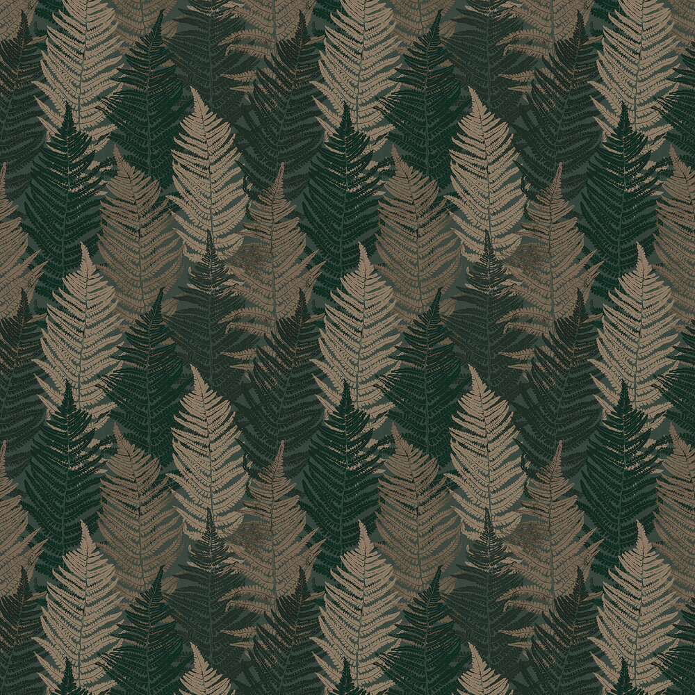 Boråstapeter Fern Forest Dark Green and Beige Wallpaper - Product code: 1164