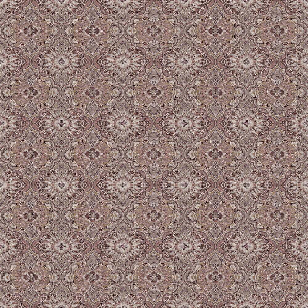 Rustic Ornament Wallpaper - Pink and Brown - by Boråstapeter