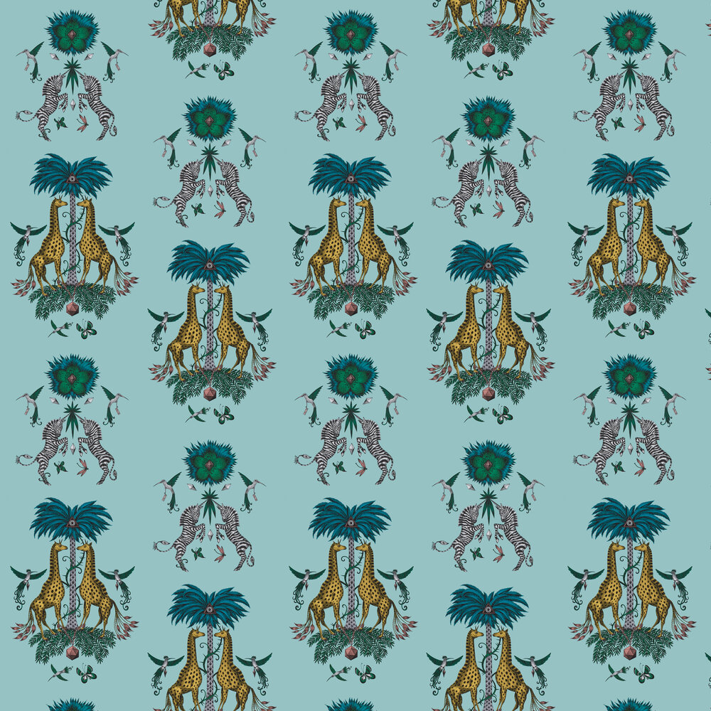 Creatura Wallpaper - Turquoise - by Emma J Shipley