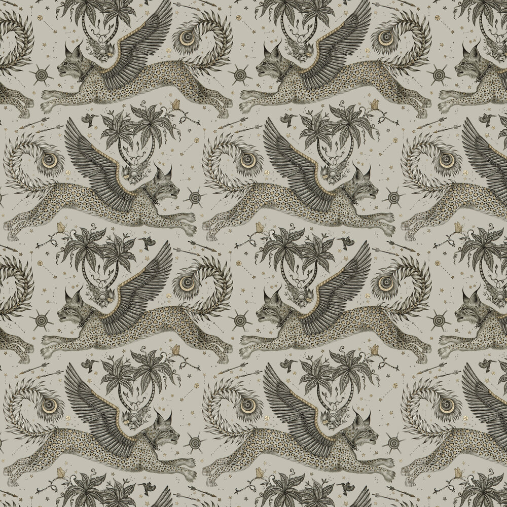 Emma J Shipley Lynx Gilver Wallpaper - Product code: W0118/02
