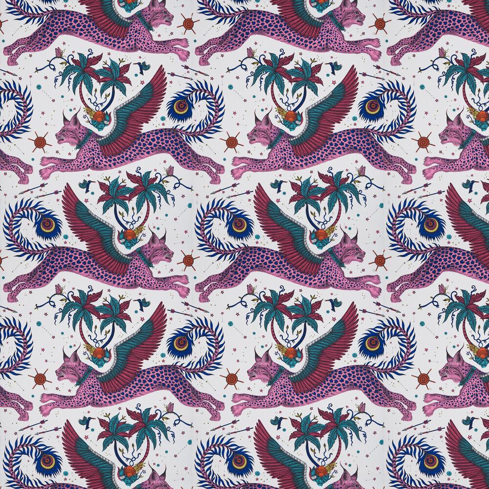 Lynx Wallpaper - Magenta - by Emma J Shipley