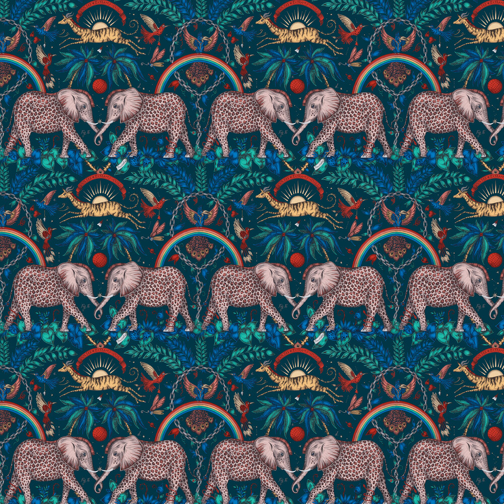 Zambezi Wallpaper - Navy - by Emma J Shipley