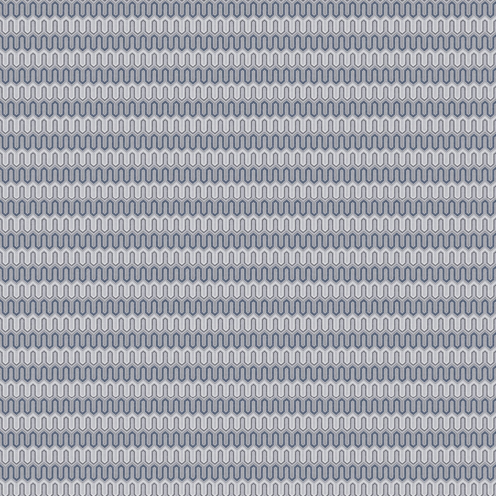 Zig Zag Wallpaper - Blue and Grey - by Galerie