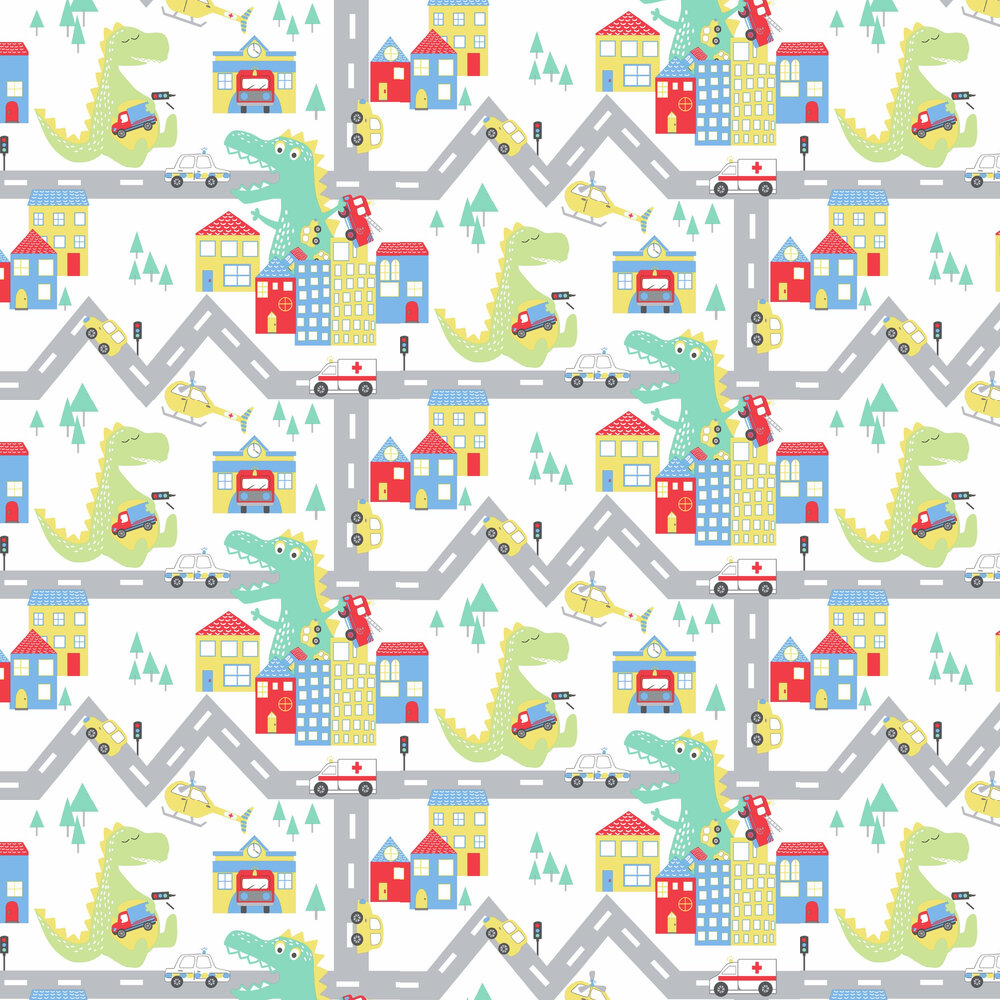 Dino Road Wallpaper - White / Multi - by Albany