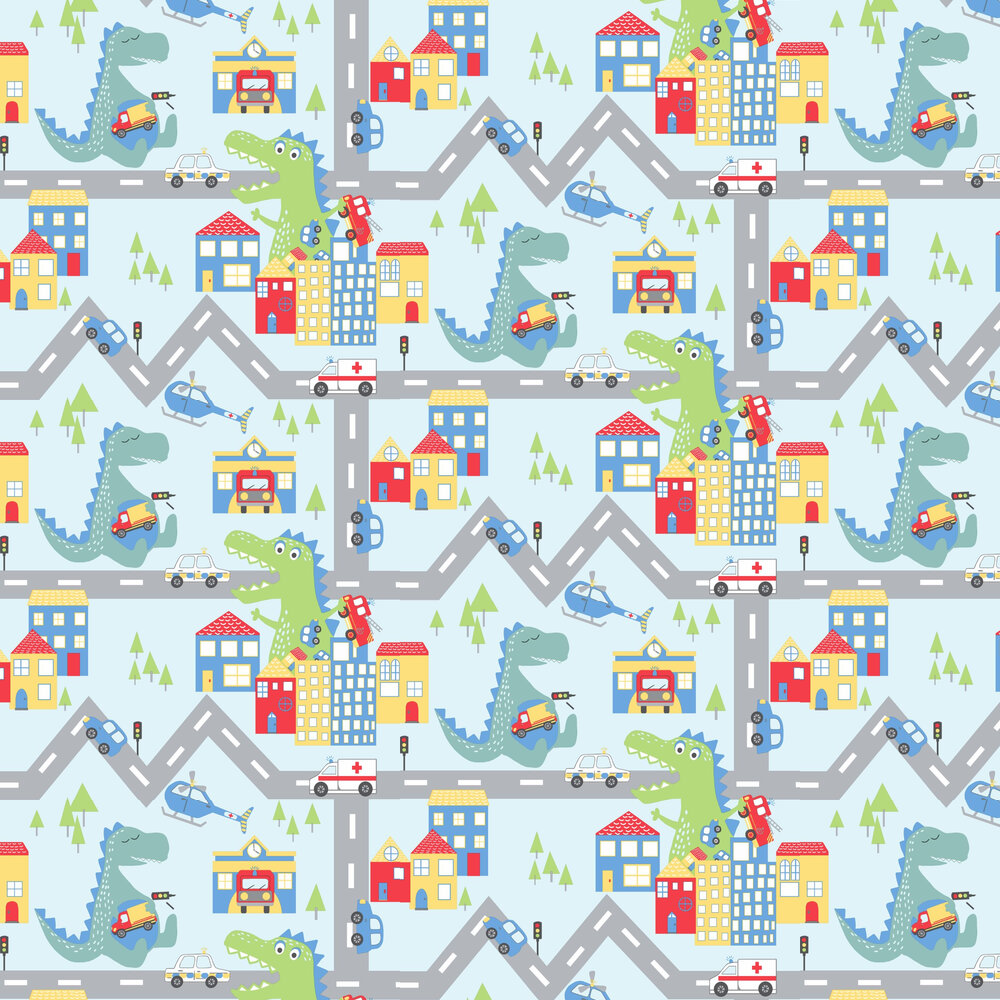 Albany Dino Road Blue / Multi Wallpaper - Product code: 90911
