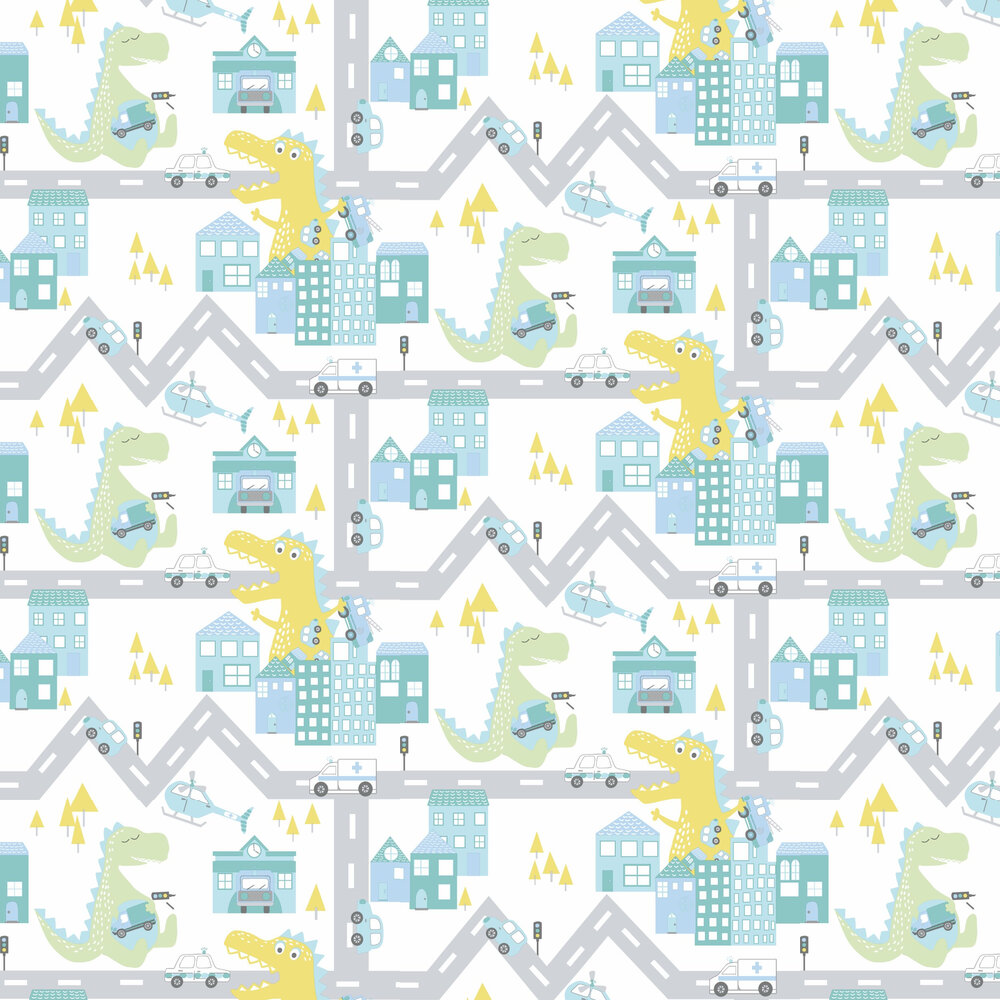 Albany Dino Road Teal / Lime Wallpaper - Product code: 90912