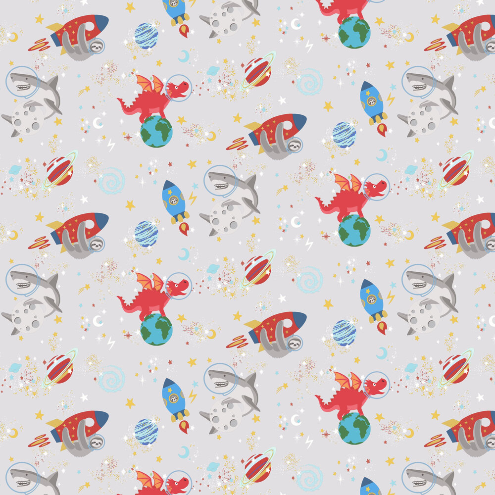 Space Animals Wallpaper - Grey - by Albany