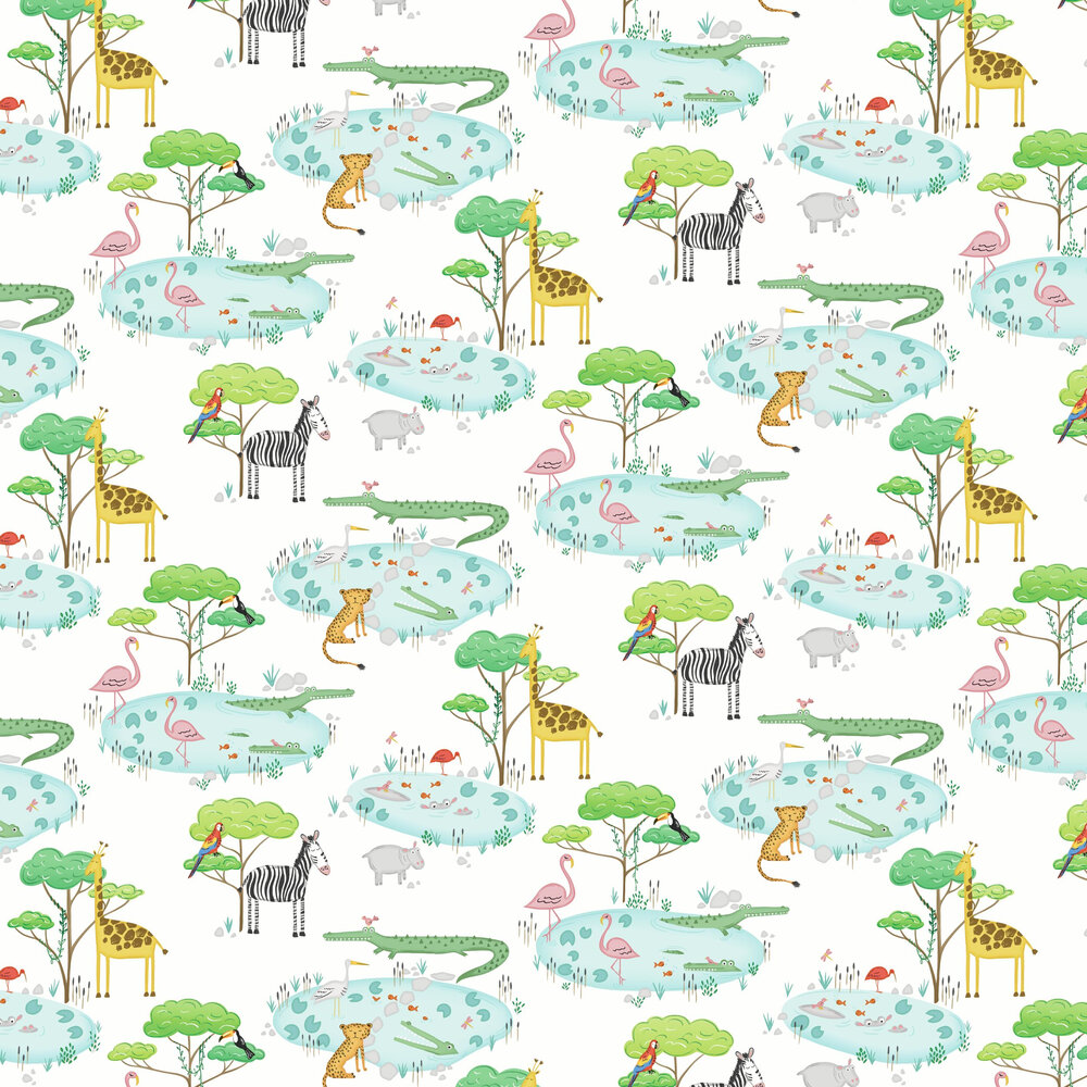 Crocodile Lake Wallpaper - White - by Albany