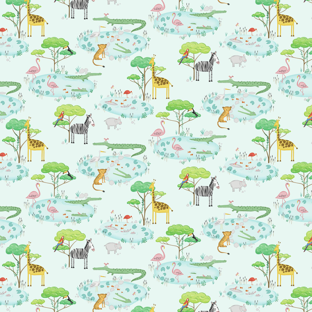 Crocodile Lake Wallpaper - Light Teal - by Albany