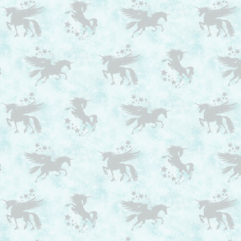 Iridescent Unicorns Wallpaper - Teal / Silver - by Albany