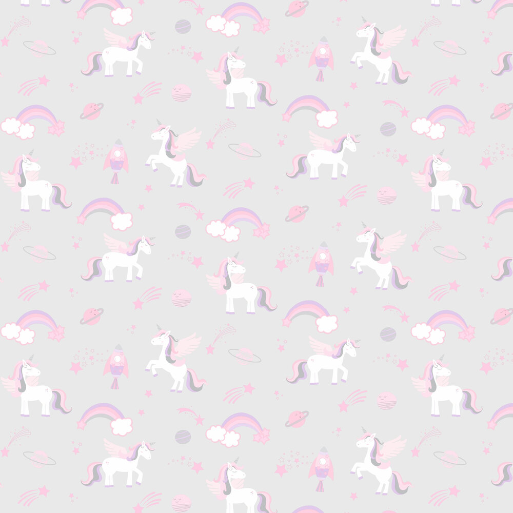 Unicorns, Rockets and Rainbows Wallpaper - Grey - by Albany