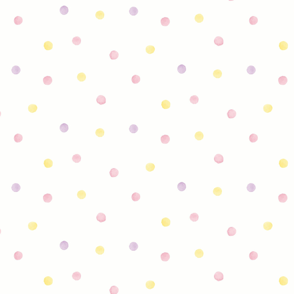 Watercolour Polka Dots Wallpaper - Pink / Yellow - by Albany