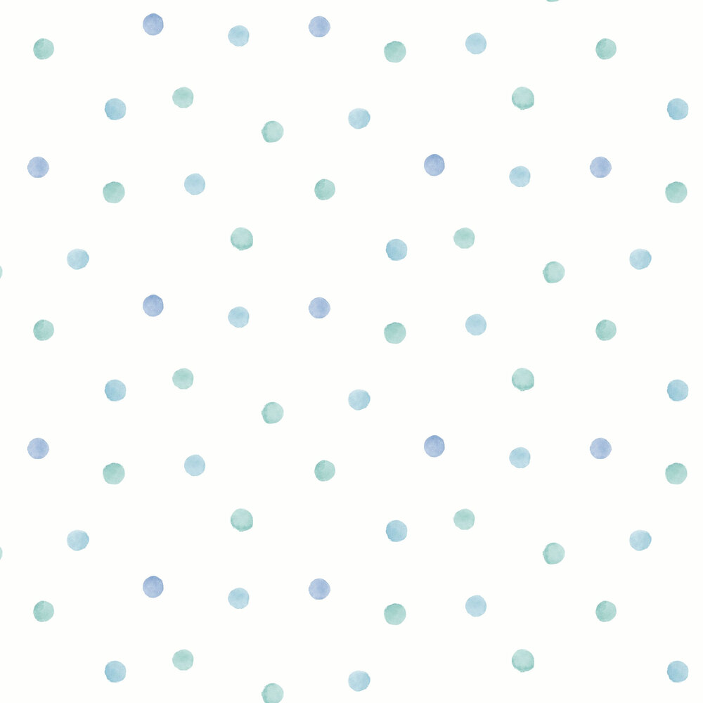 Watercolour Polka Dots Wallpaper - Blue / Teal - by Albany