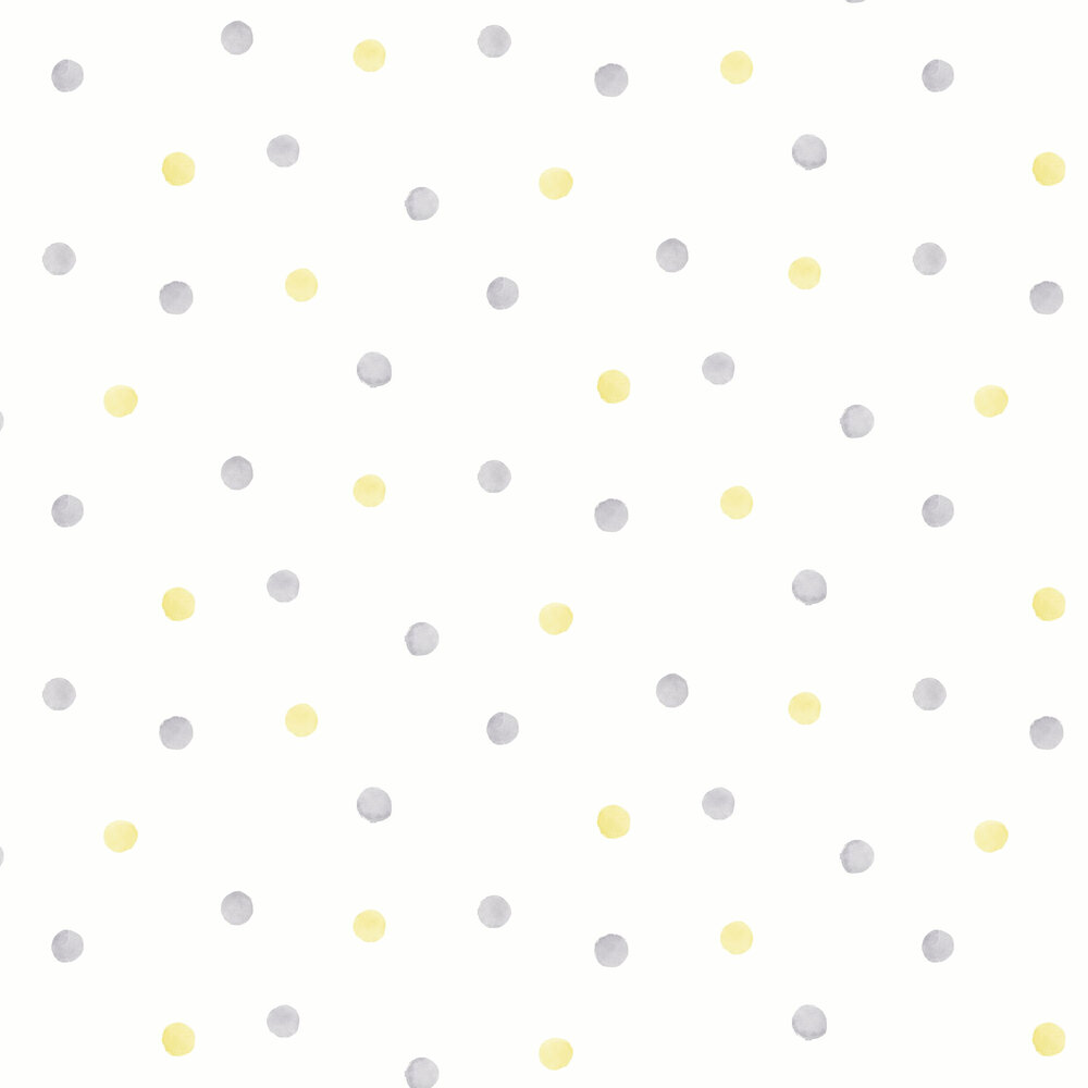Watercolour Polka Dots Wallpaper - Grey / Yellow - by Albany