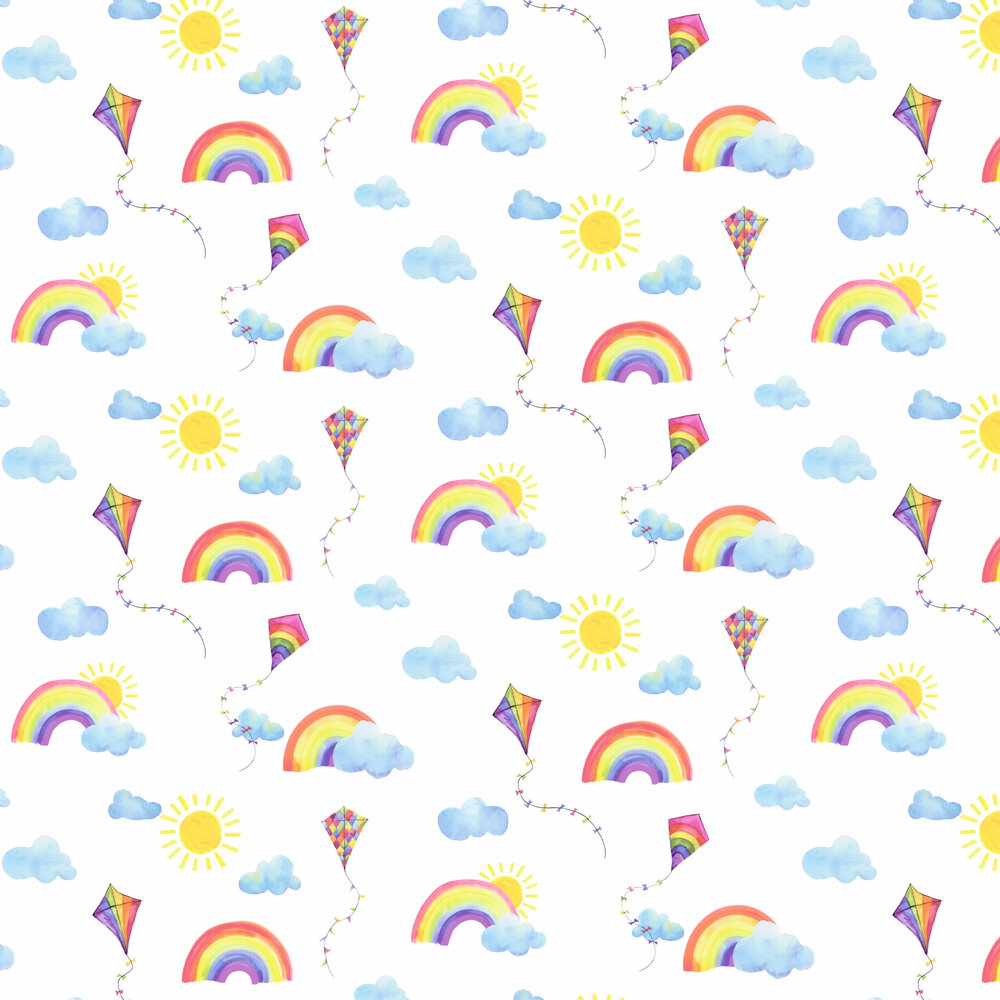 Rainbows and Flying Kites Wallpaper - White / Multi - by Albany