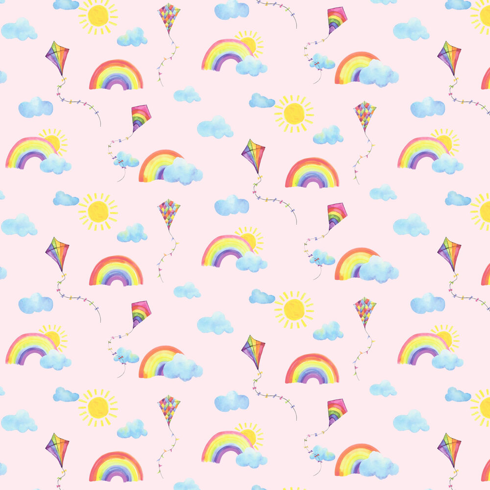Rainbows and Flying Kites Wallpaper - Pink - by Albany