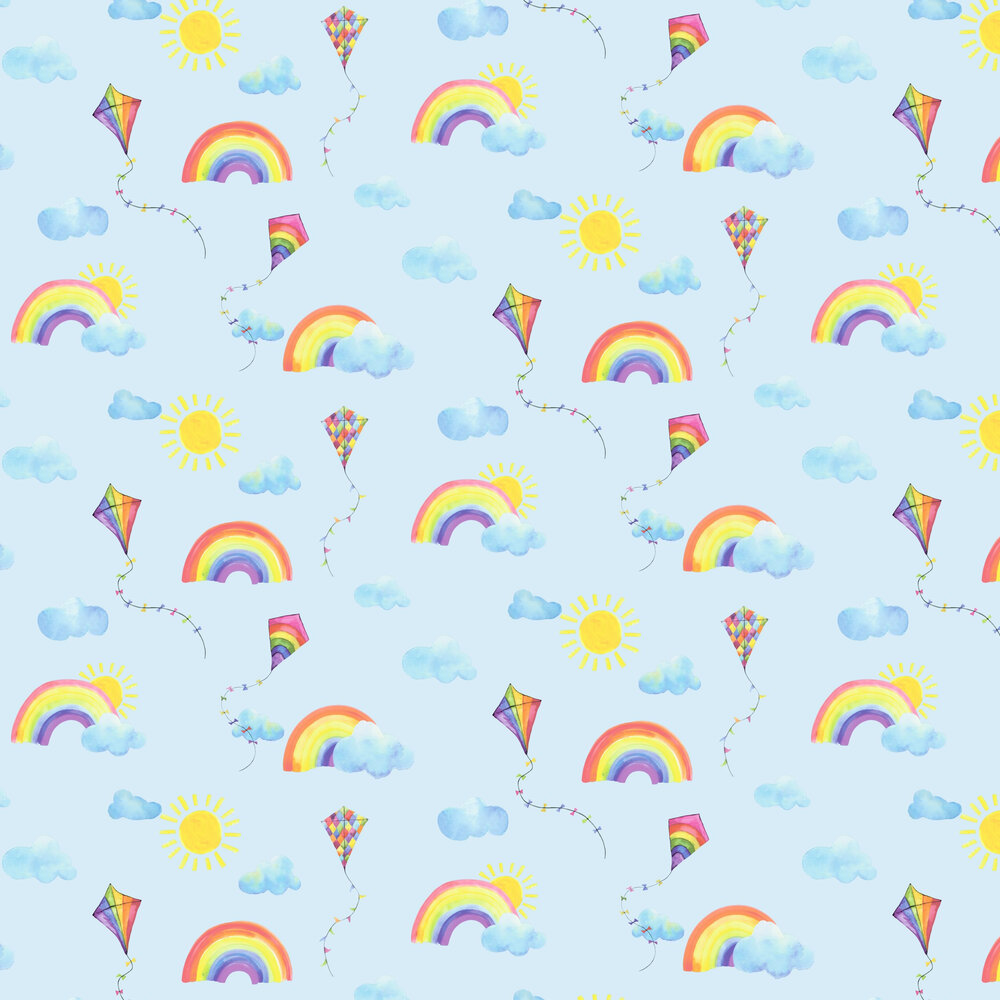 Rainbows and Flying Kites Wallpaper - Blue - by Albany