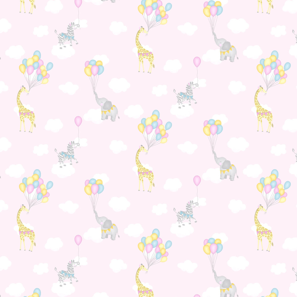 Animal Balloons Wallpaper - Pink - by Albany