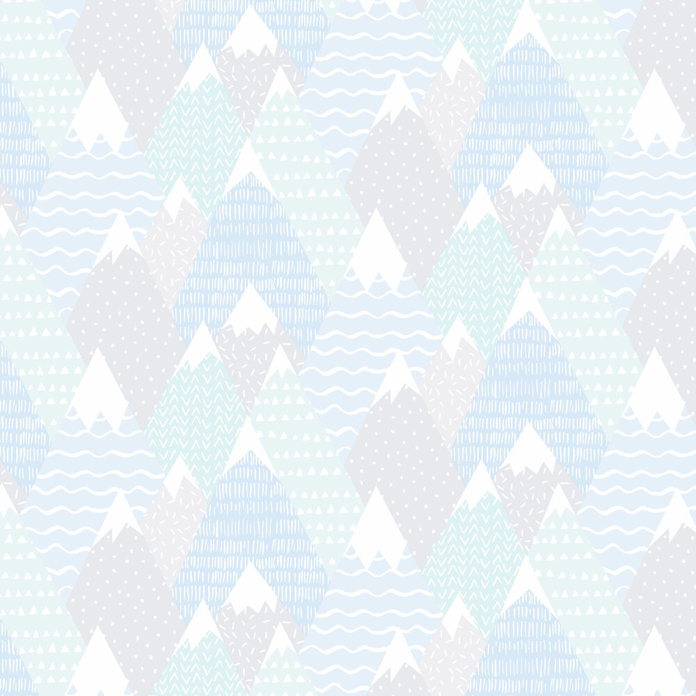Mountains Wallpaper - Teal - by Albany