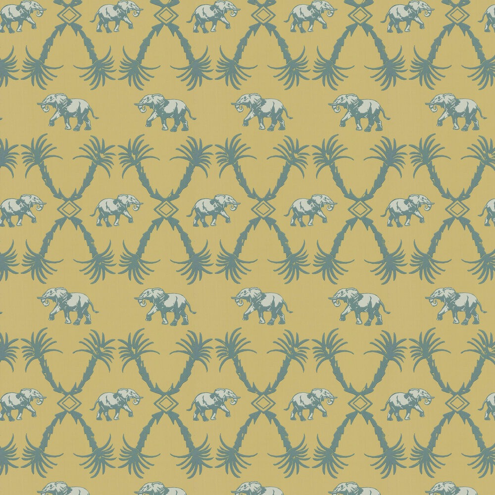 Elephant Palm Wallpaper - Ochre / Blue - by Barneby Gates