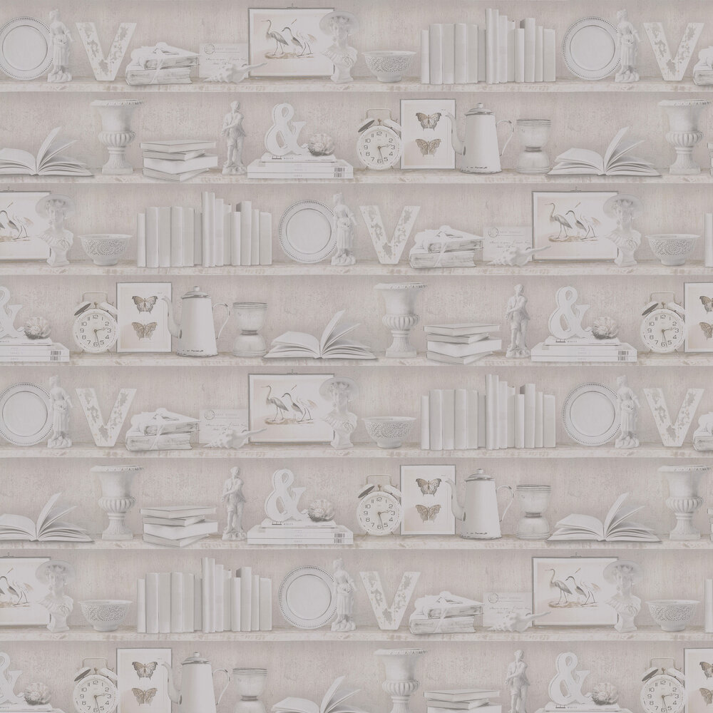 On The Shelf Wallpaper - Sepia - by Galerie