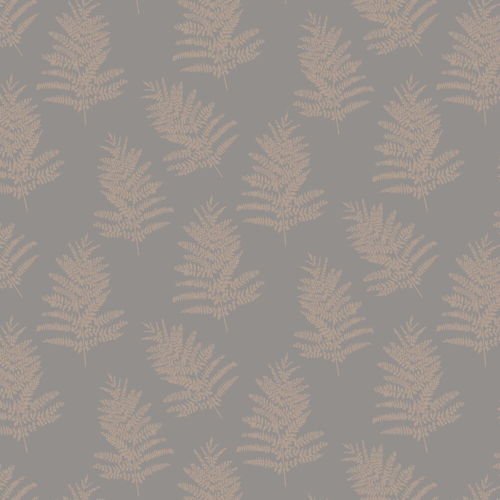 Metallic Fern Wallpaper - Charcoal / Rose Gold - by Arthouse