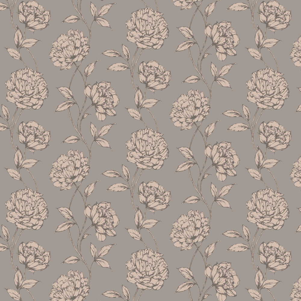 Pretty Floral By Arthouse Charcoal Rose Gold Wallpaper