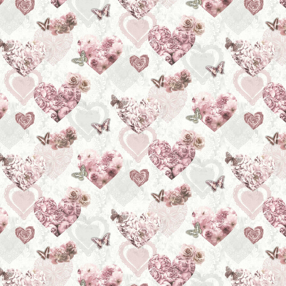 Floral Hearts Wallpaper - Pink - by Arthouse