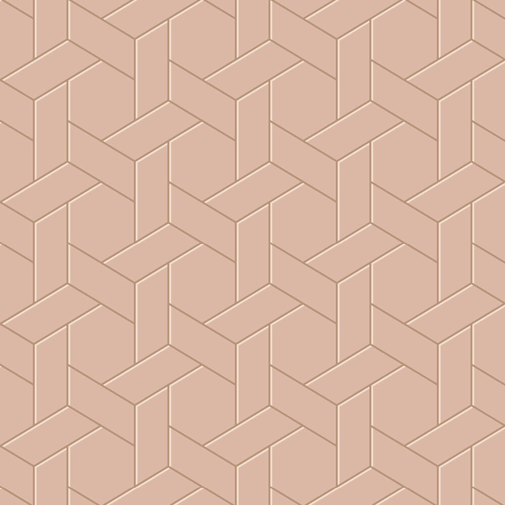 Parquet Geo Wallpaper - Pink - by Arthouse