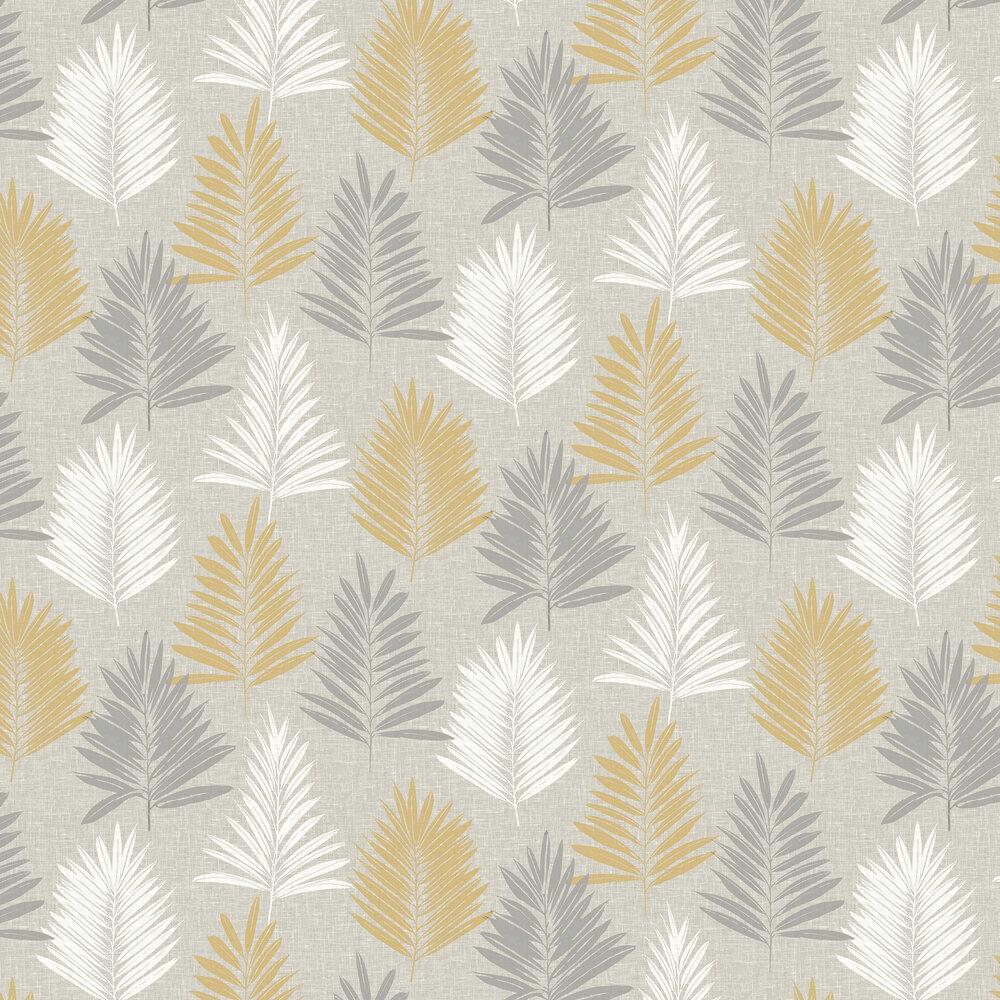 Arthouse Linen Palm Ochre / Grey Wallpaper - Product code: 697800