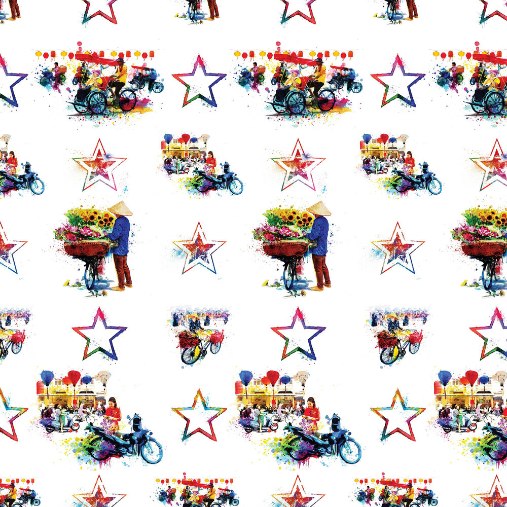 Hanoi Hustle - Vibrant City Wallpaper - Multi-coloured - by Hattie Lloyd