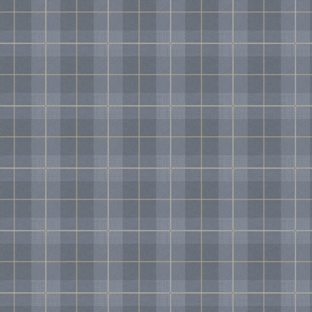 Country Tartan Wallpaper - Denim Blue - by Arthouse