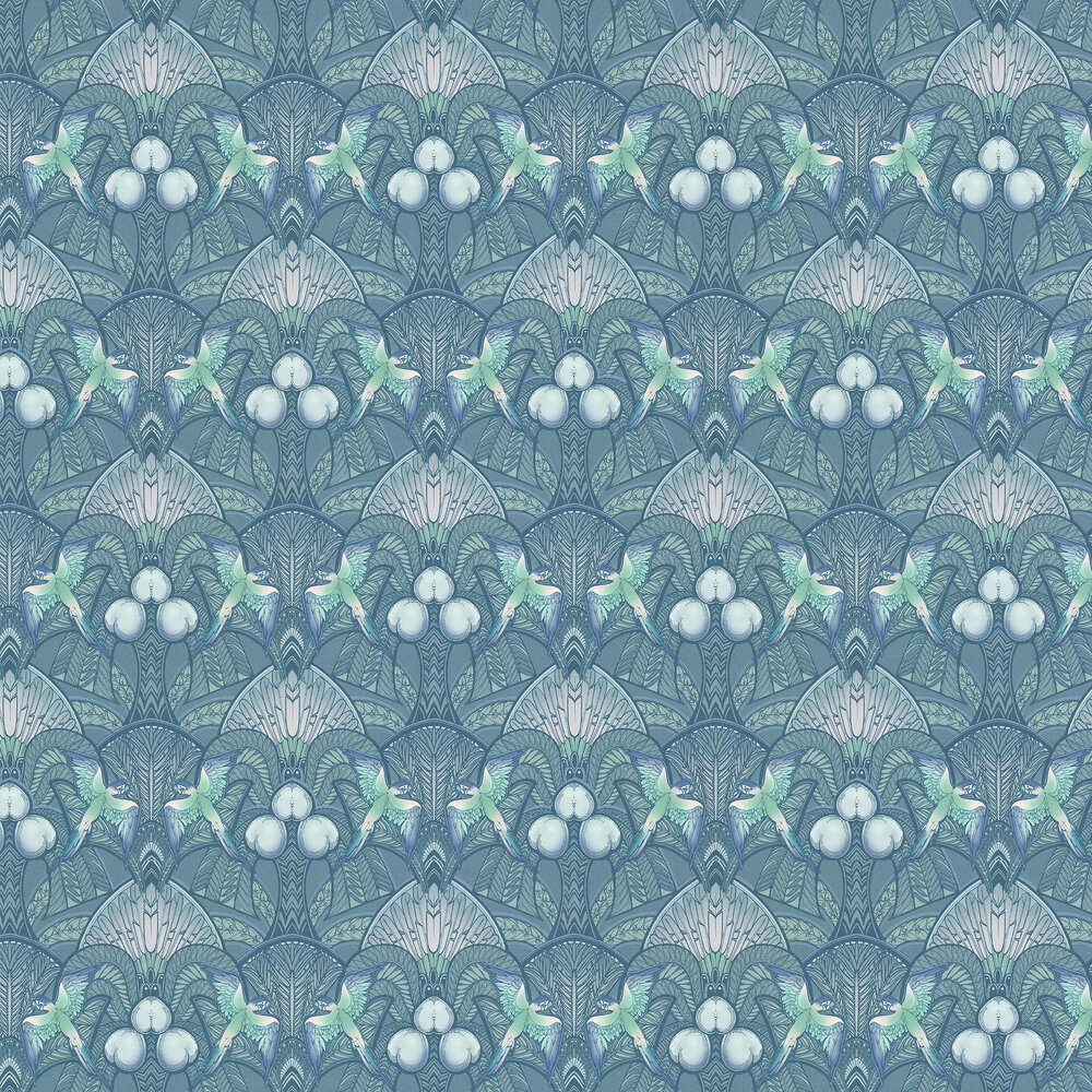 Pleasure Island Wallpaper - Metallic Greens - by Laurence Llewelyn-Bowen