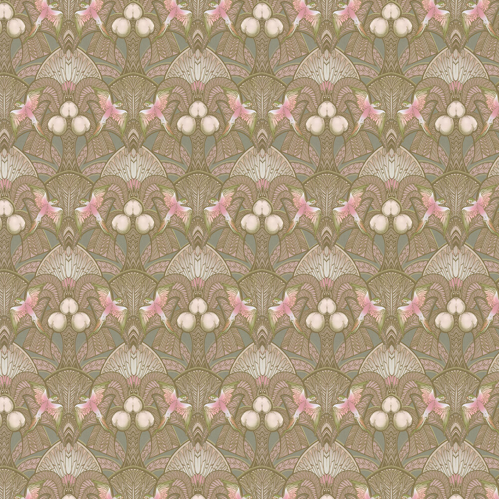 Pleasure Island Wallpaper - Cocoa Brown / Soft Pink - by Laurence Llewelyn-Bowen