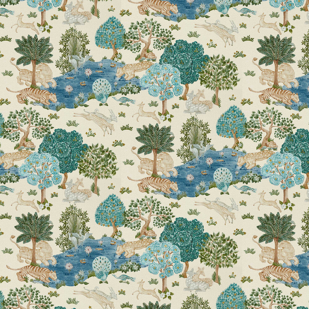 Pamir Garden Wallpaper - Cream / Nettle - by Sanderson