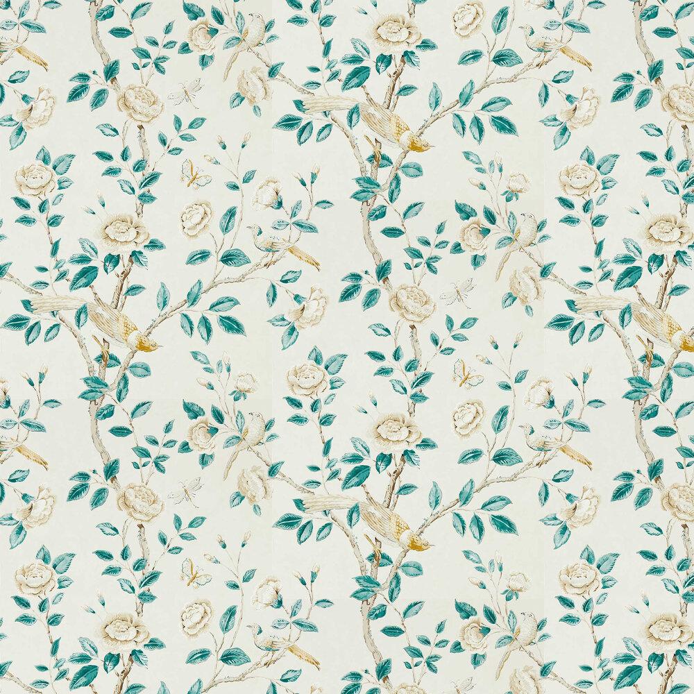 Andhara Wallpaper - Teal / Cream - by Sanderson