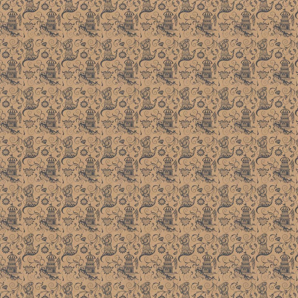 Lambeth Saracen Wallpaper - Brown - by Hamilton Weston Wallpapers