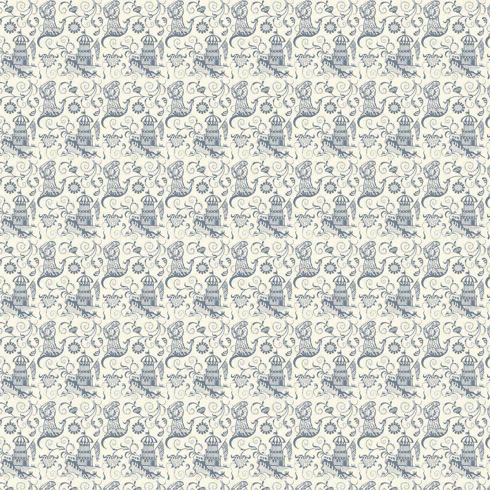 Lambeth Saracen Wallpaper - Cream / Blue - by Hamilton Weston Wallpapers
