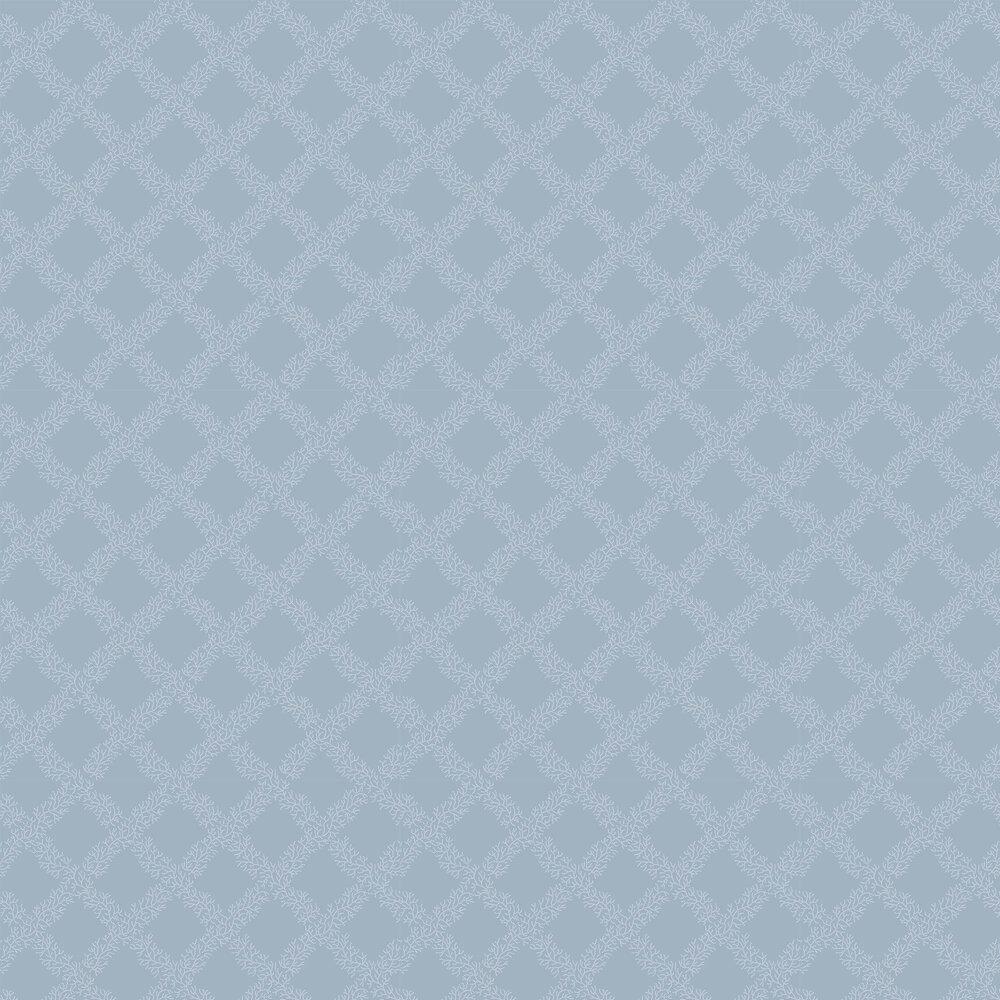 Sandycombe Trellis Wallpaper - Mid-blue / White - by Hamilton Weston Wallpapers