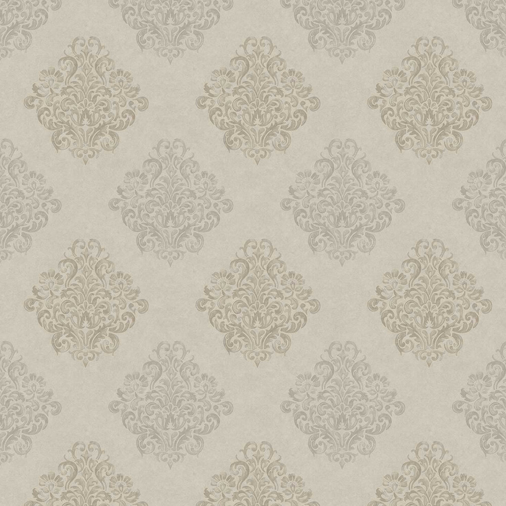 Devore Damask Wallpaper - Taupe - by Fardis