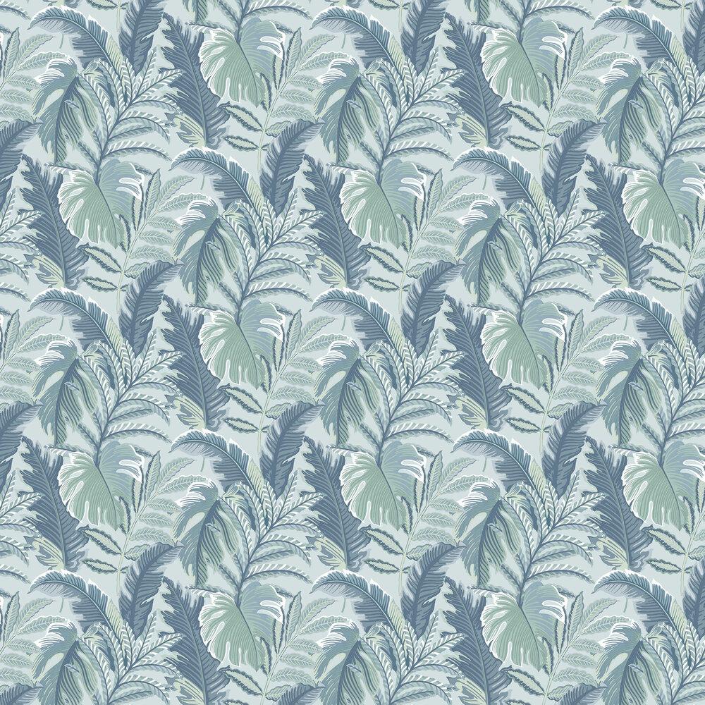 Tropical Leaf Wallpaper - Aqua Blue - by Albany
