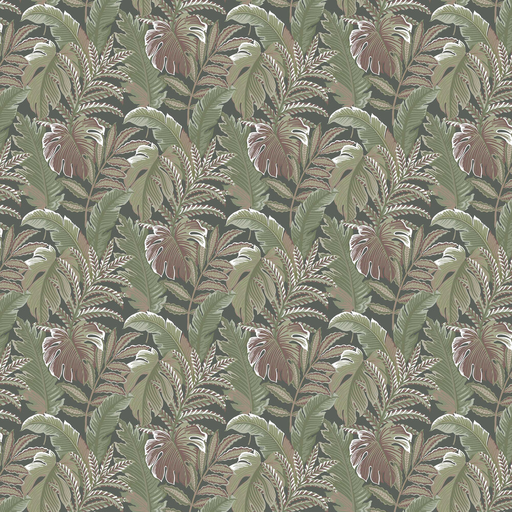 Tropical Leaf Wallpaper - Green / Red - by Albany