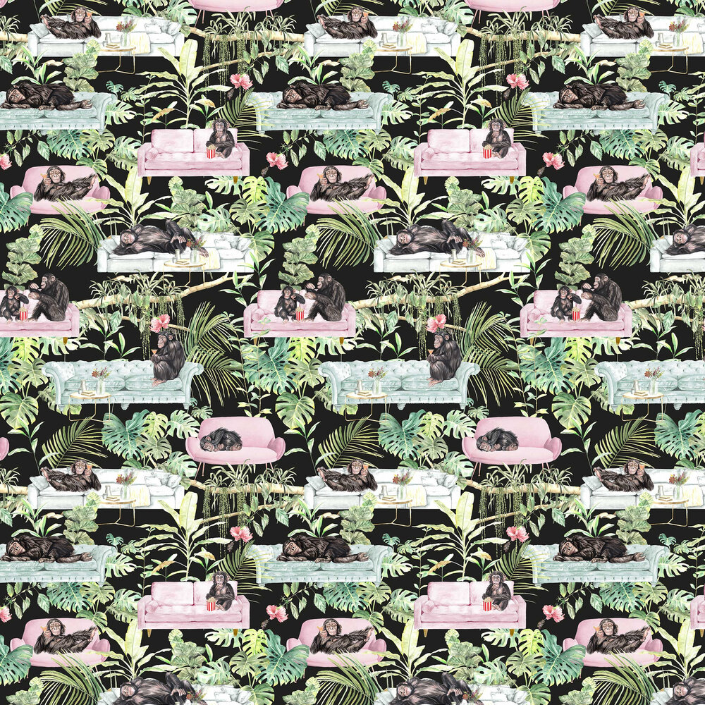 Monkey Business Wallpaper - Black - by Graduate Collection