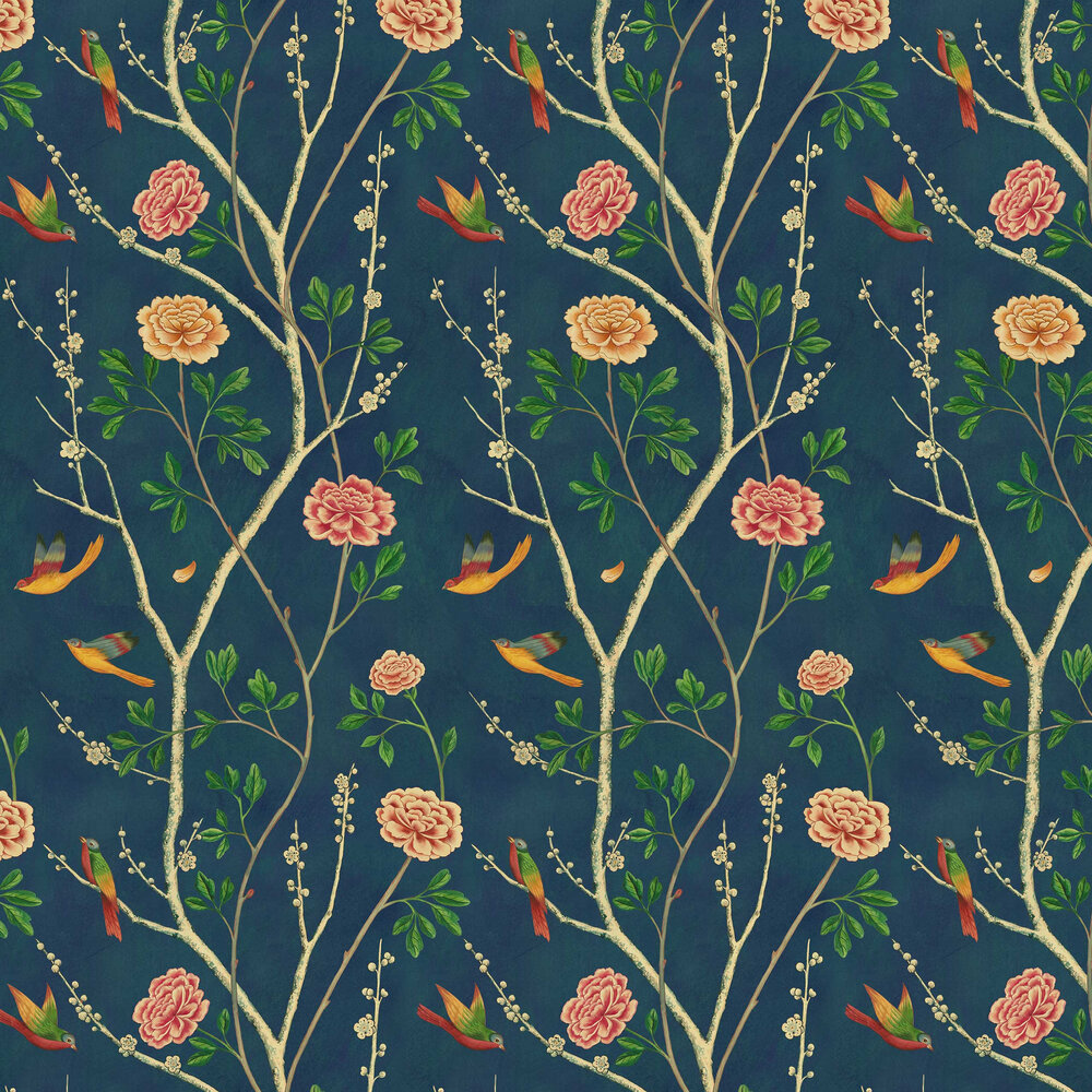 Sand & Sushi Wild Rose Chinensis Danube Indigo Wallpaper - Product code: WRCHIND